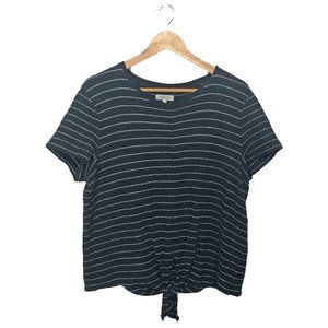 Madewell Modern Tie Front Striped Top Size Large